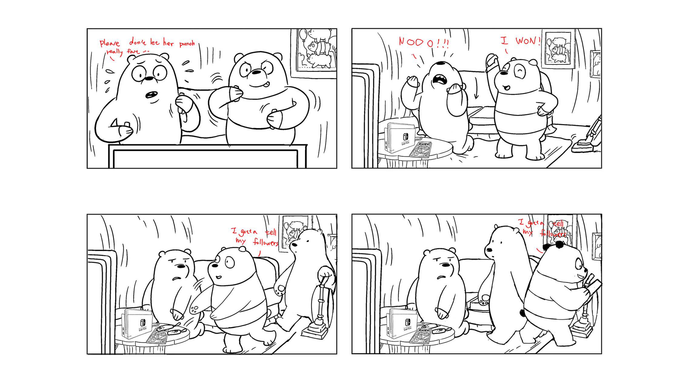 Concept storyboards for Nintendo Switch + We Bare Bears Battle for turf